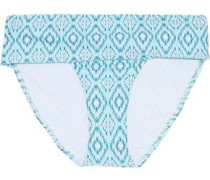 Brussels Printed Mid-rise Bikini Briefs Turquoise