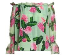 Off-the-shoulder Floral-print Silk Crepe De Chine Blouse Mint