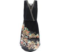 Night Child Wrap-effect Crystal-embellished Printed Silk-jacquard Mini Dress Black