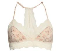 + Rebecca Taylor Lou Floral-print Stretch-silk And Lace Triangle Bra Cream
