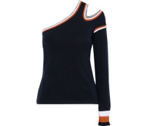 One-shoulder Cutout Stretch-knit Sweater Black