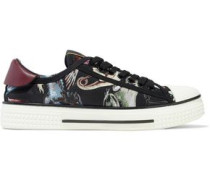 Leather-trimmed printed twill sneakers