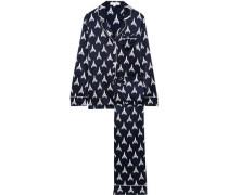 Lila Printed Silk-charmeuse Pajama Set Navy
