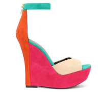 Color-block suede wedge sandals
