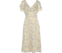 Point D'esprit-trimmed Floral-print Jacquard Midi Dress Pastel Yellow