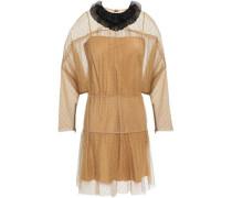 Woman Embellished Gathered Point D'esprit Mini Dress Camel