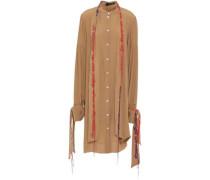 Embroidered Crepe De Chine Midi Shirt Dress Camel