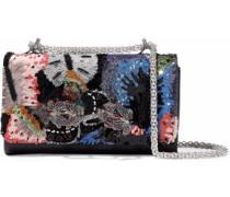 Camubutterfly Embellished Leather Shoulder Bag Black Size --