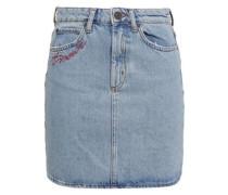Embroidered Faded Denim Mini Skirt Light Denim