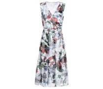 Belted Pleated Printed Organza Dress White