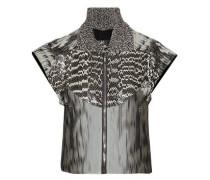 Paneled snakeskin, cotton-blend jacquard and printed silk-georgette jacket