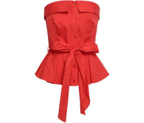Strapless Belted Cotton-blend Peplum Top Red