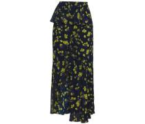 Draped Floral-print Crepe De Chine Midi Skirt Navy
