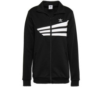Embroidered Striped Jersey Jacket Black