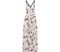 Lace-trimmed Ruched Printed Silk-georgette Gown Pastel Pink