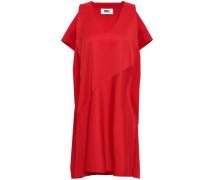 Draped Twill Mini Dress Red