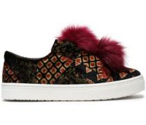 Faux fur-trimmed printed velvet slip-on sneakers