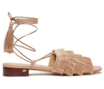 Fringed Silk And Leather Sandals Blush