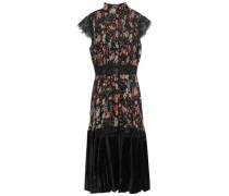 Velvet-paneled Lace-trimmed Pintucked Floral-print Crepon Dress Black