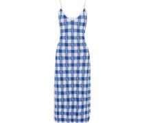 Cathleen Metallic Gingham Jacquard-knit Midi Dress Blue