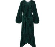 Kamari Devoré-chiffon Peplum Midi Dress Emerald