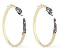 Woman Gunmetal And Gold-tone Crystal Hoop Earrings Gold