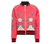 Embroidered Shell Bomber Jacket Coral