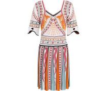 Jacquard-knit Mini Dress White