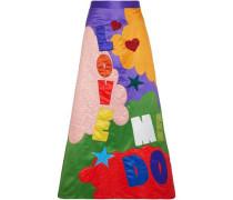Ursula embellished printed satin maxi skirt