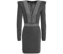 Woman Crystal-embellished Metallic Stretch-knit Mini Dress Gunmetal