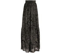 Shirred printed crepe maxi skirt