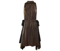 Bow-detailed Gathered Lamé Dress Gold