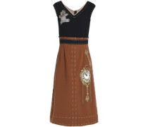 Appliquéd Two-tone Wool-crepe Midi Dress Light Brown