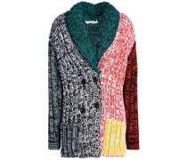 Marled color-block knitted cardigan