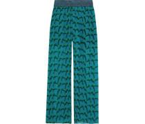 Metallic-trimmed Printed Plissé Silk-georgette Wide-leg Pants Forest Green