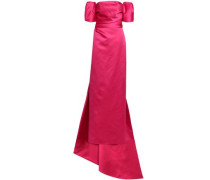 Off-the-shoulder Layered Duchesse-satin Gown Fuchsia Size 12