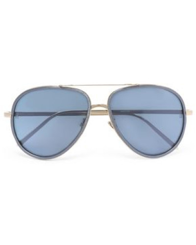 Aviator-style gold-tone and acetate sunglasses