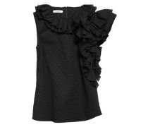 Ruffled Embroidered tton Top Black