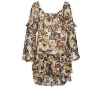 Ruffled floral-print crepe de chine mini dress