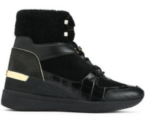 Woman Liv Suede, Smooth And Snake-effect Leather Wedge Sneakers Black