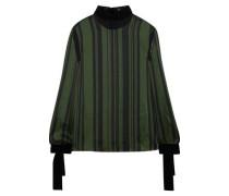 Velvet-trimmed Striped Satin Blouse Dark Green