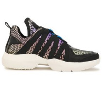 Woman Lynzie Patent-trimmed Metallic Snake-effect Leather Sneakers Multicolor