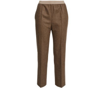 Mélange Wool-blend Straight-leg Pants Brown
