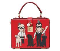 Appliquéd Textured-leather Shoulder Bag Red Size --