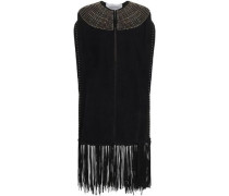 Woman Embellished Suede Vest Black