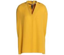 Embellished silk-crepe blouse