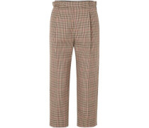 Woman Cropped Pleated Checked Wool-blend Straight-leg Pants Camel