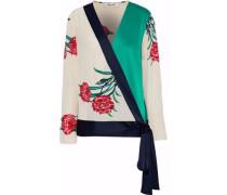Satin-paneled Floral-print Silk Crepe De Chine Wrap Blouse Jade