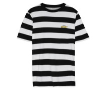 Embroidered Striped Cotton-jersey T-shirt Black