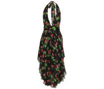 Angie Floral-print Silk-chiffon Halterneck Dress Black